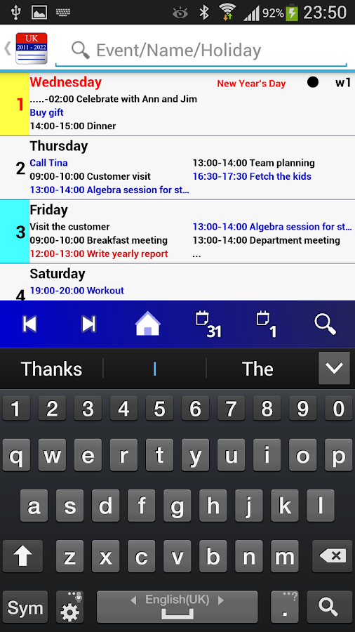 Calendar Pro/en - full version - screenshot