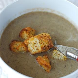 Creamy Mushroom Leek Soup with Peppery Parmesan Croutons