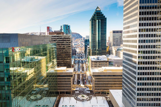 Cityscape of downtown Montreal.