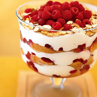Raspberry, White Chocolate, and Almond Trifle.