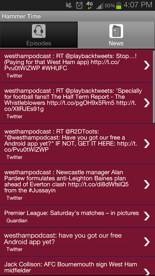 Stop! Hammer Time - WHUFC App - screenshot