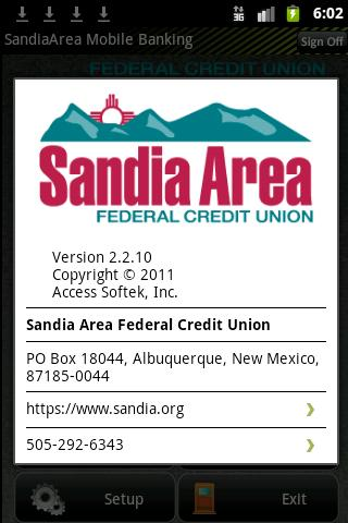 Sandia Area Mobile Banking - screenshot