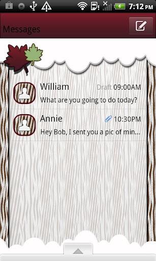 GO SMS THEME AutumnZebraSky1