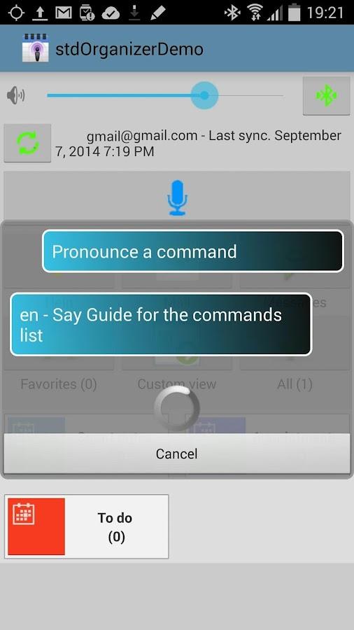 stdOrganizer - voice command- screenshot