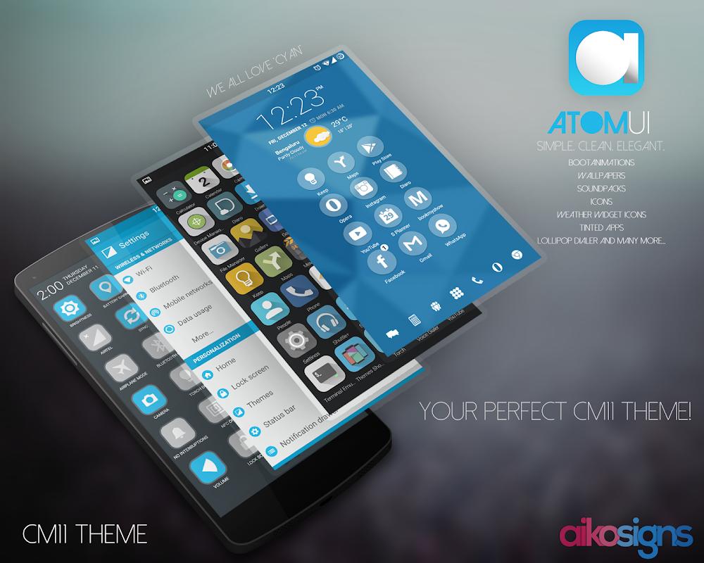 AtomUI - CM 11/PA Theme APK 2 1 Download - Free Personalization APK