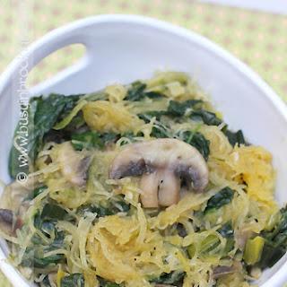 Spaghettti Squash with Sauteed Spinach & Mushrooms.