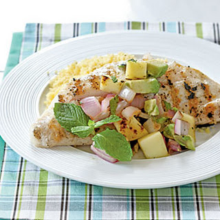 Snapper with Grilled Mango Salsa.