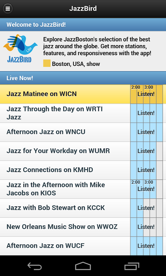 JazzBird from JazzBoston- screenshot