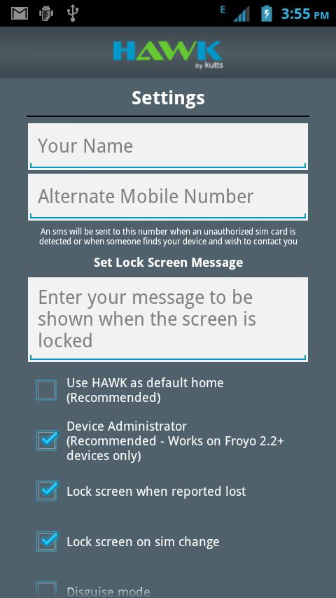 Hawk - Android Anti Theft- screenshot