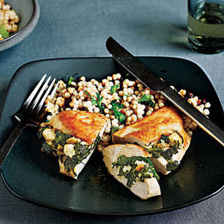 Chicken Stuffed with Spinach, Feta, and Pine Nuts.