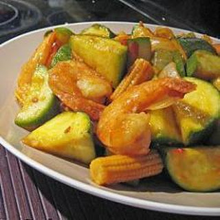 Spicy Prawn and Courgette Stir Fry.