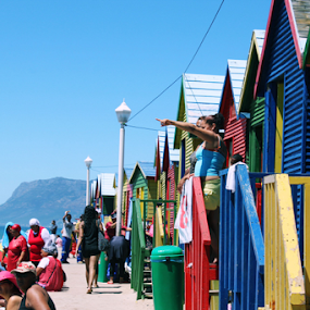 St. James, Cape Town by Leanne Oosthuizen - Buildings & Architecture Public & Historical ( colourful, red, huts, blue, green, beach, yellow, people, sunbathing )