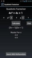 Screenshot of Quadratic Equation Factorizer
