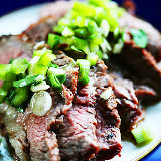 Grilled Tri-Tip Steak with Bell Pepper Salsa.