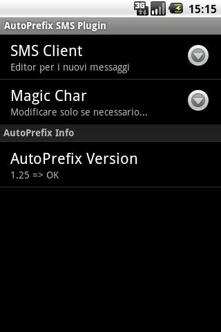 AutoPrefix SMS Plugin - screenshot