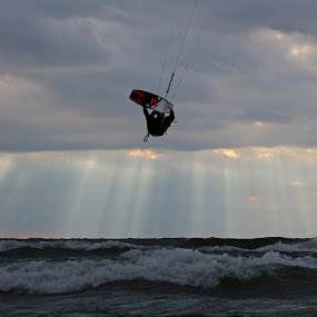 From Heaven by Jeremy Church - Sports & Fitness Watersports ( clouds, water, grand haven, lake michigan, kite boarding )