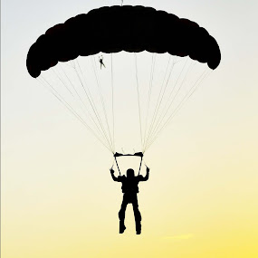 Can you see me? by Martin Wheeler - Digital Art People ( skydiving, canyoufindme, skydiver, sunset, silhoutte, people,  )