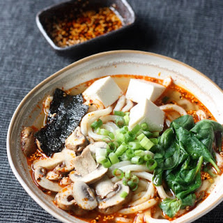 Miso Udon Noodle Soup with Spicy Korean Chili Dressing.