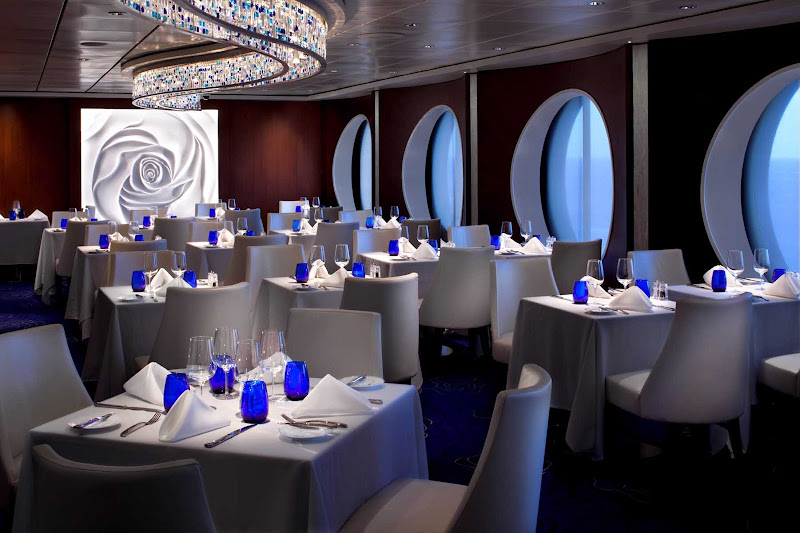 Take in the sea and the contemporary décor in Celebrity Infinity's Blu restaurant.