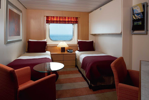 Celebrity Century's twin cabin with an ocean view.
