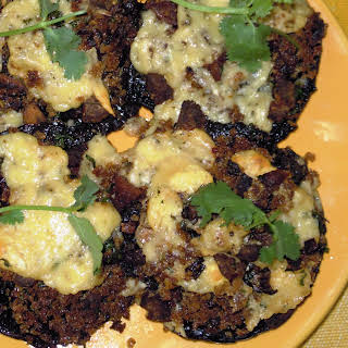 Portobello Mushrooms stuffed with garlic, shallots and chorizo.