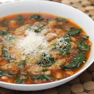 Tomato Soup With Cannellini Beans, Wilted Spinach And Garlic Confit