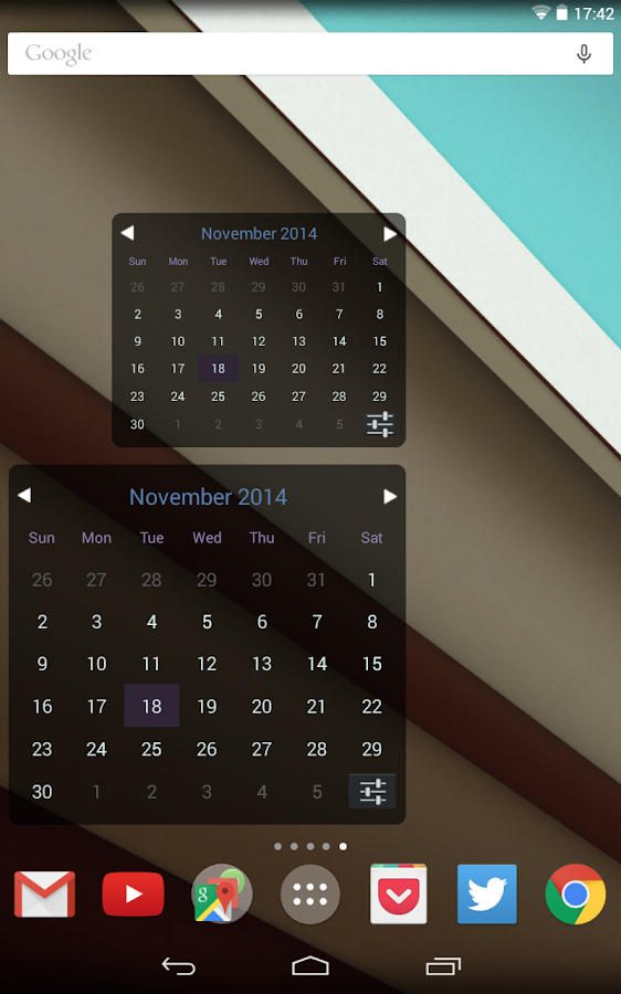 Month Calendar Widget - screenshot