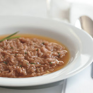 Truffled Red Wine Risotto with Parmesan Broth.