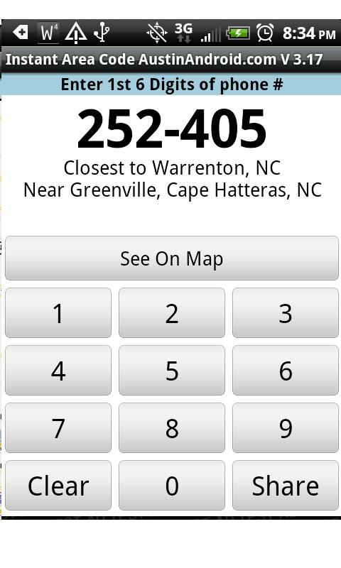 Instant Area Code- screenshot