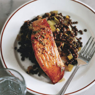 Salmon with Lentils and Mustard-Herb Butter (Saumon Aux Lentilles) Recipe