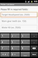 Screenshot of Heli Pinion Calculator