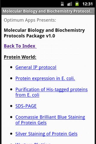 Mol Biol & Biochem Protocols- screenshot