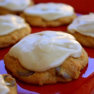 Pumpkin Chocolate Chip Cookies with Brown Sugar Icing