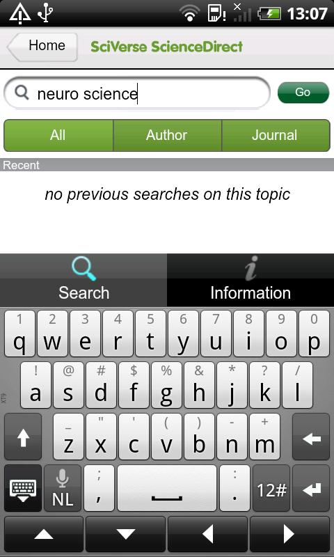 SciVerse ScienceDirect - screenshot