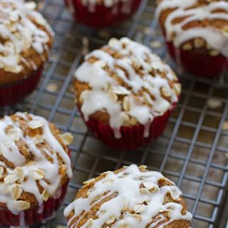 Healthy Apple Muffins with Vanilla Glaze.