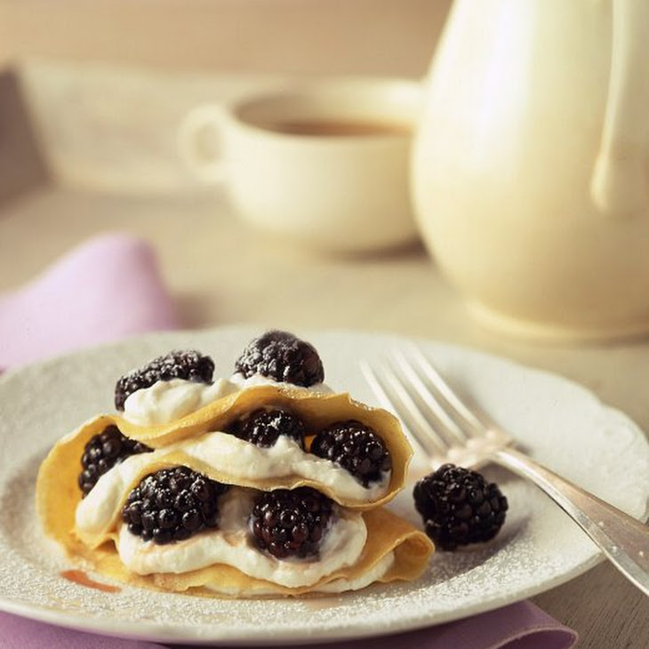Cornmeal Crepes with Fresh Buttermilk Cheese and Blackberries Recipe