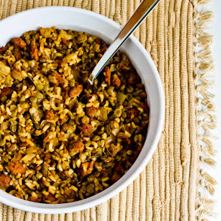 Casserole of Lentils, Rice, and Sausage.