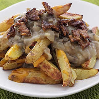 Vegetarian Poutine with Bacon.