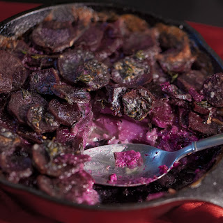 Fingerling Purple Sweet Potato Gratin