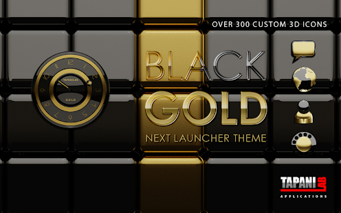 Next Launcher Theme black gold