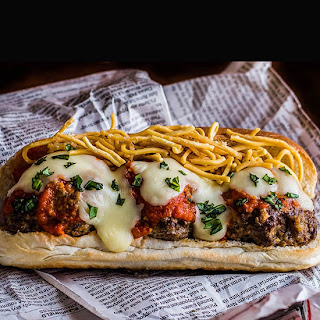 Meatball Parm Subs with Deep-Fried Pasta.