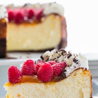 Raspberry Apricot Cheesecake with Chocolate Crust