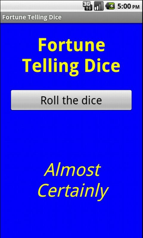 Fortune telling dice- screenshot