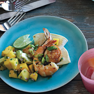 Mexican Seafood Sauté with Avocado-Mango Salsa.