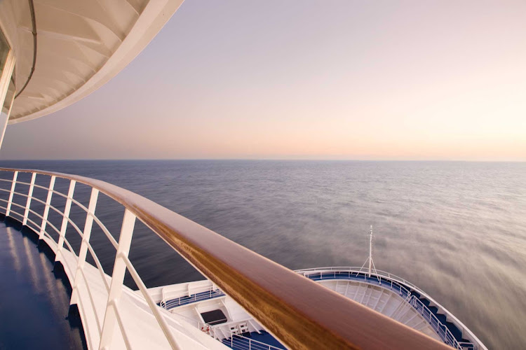 View from behind the railing of Seven Seas Voyager.