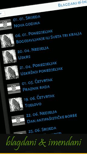Kalendar Blagdani Imendani
