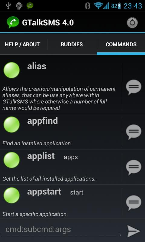 GTalkSMS - screenshot