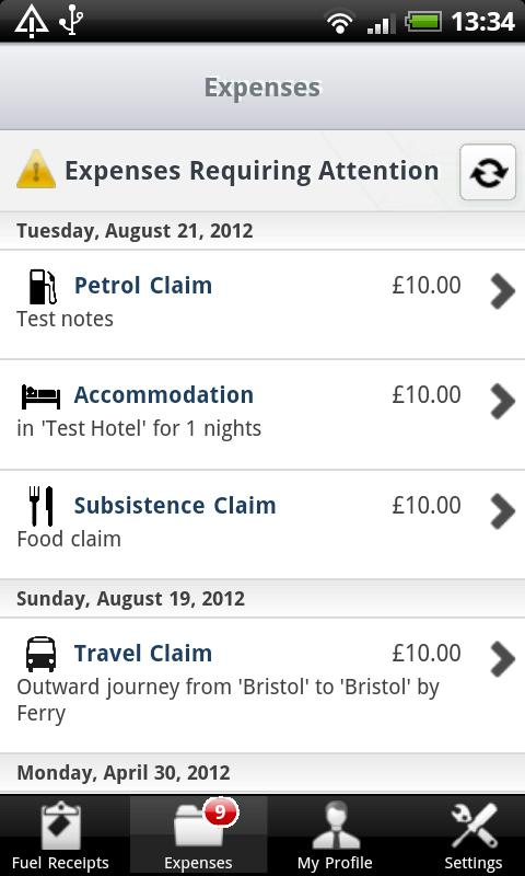 Expense Claims- screenshot