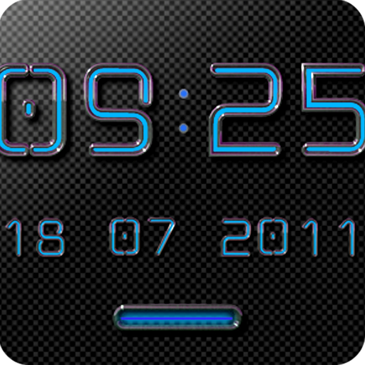 NEON BLUE Digital Clock Widget