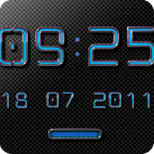 NEON BLUE Digital Clock Widget